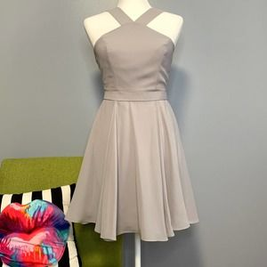 Lulu's Grey Forevermore Skater Fit & Flare Dress